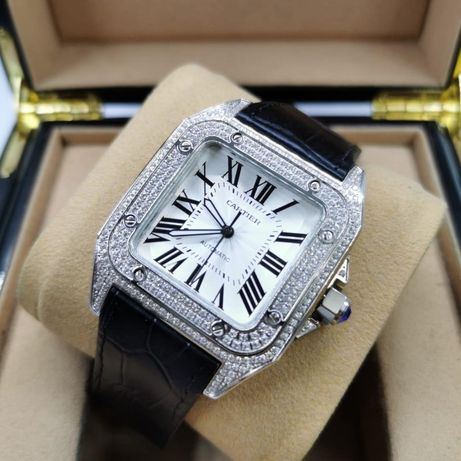 Cartier Santos 100 Full Diamond Silver
