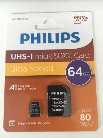 Продавам Micro SD карти Philips 64 GB за ГСМ