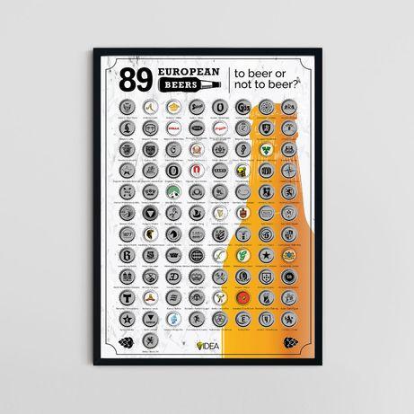 Скреч постер 89 европейски бири