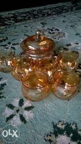 Vand set cescuțe sticla cu bomboniera