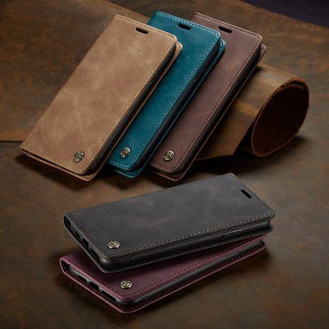 Husa iPHONE X, XS, slim piele, textura catifelata, tip portofel CaseMe