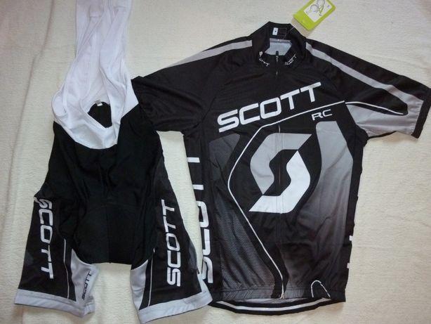 Echipament ciclism Scott negru gri NOU set pantaloni tricou jersey bib
