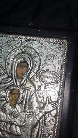 Icoana veche lucrata manual in relief,icoana vintage frumoasa de peret
