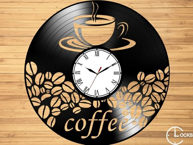 Ceas de perete din lemn Coffe | retro stil modern disc pick-up decor