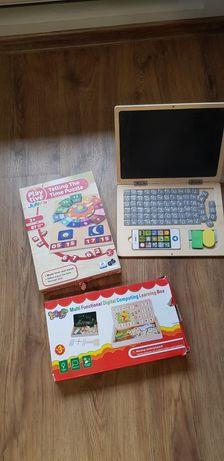 Laptop lemn, ceas din lemn si jucarie tabla