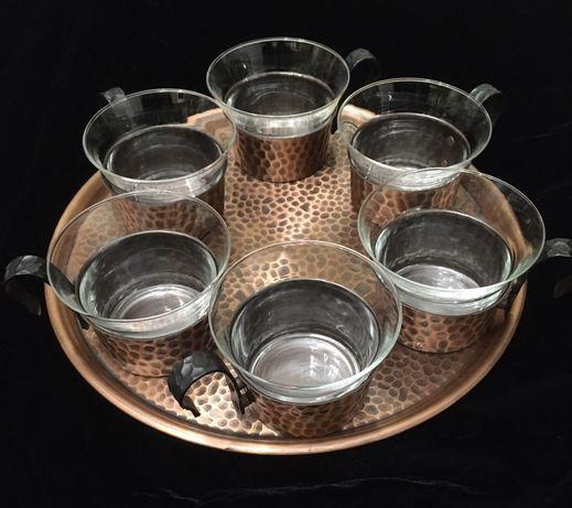 Set cafea  din yena si cupru