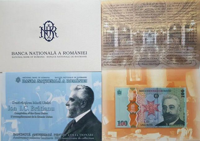 Schimb 2 bancnote Unire– I.C. Brătianu + monedă PROOF Marea Unire