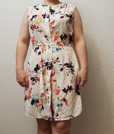 Платье летнее, натуральный плотный шелк. 44-48р
