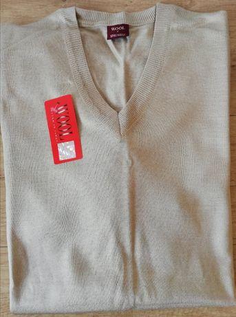 Vand pulover nou cu eticheta, 80% lana merinos, 5XL (marimea 7)