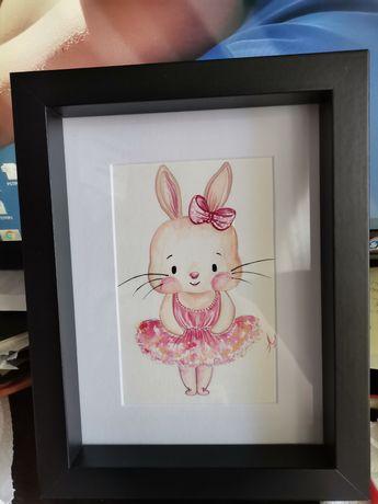 """Картина за детска стая"""" Зайче балерина"""", акварел"""
