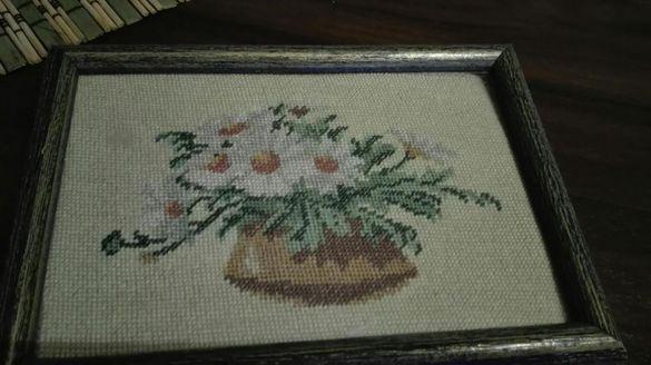 цветя - гоблен 9/14см с рамка