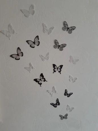18pcs / lot Efect 3D Fluturi de cristal Autocolant de perete Fluture f