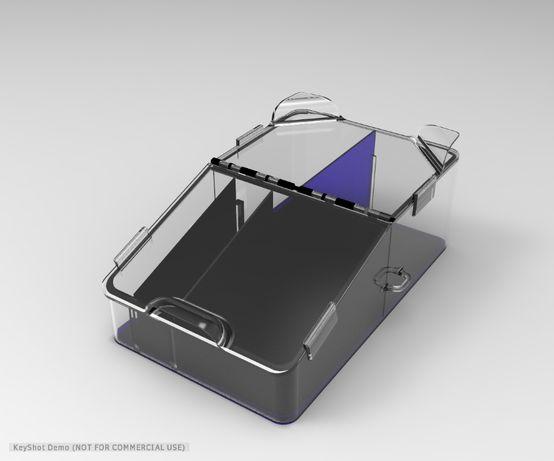 Model virtual de cutie intre scaunele autoturismului