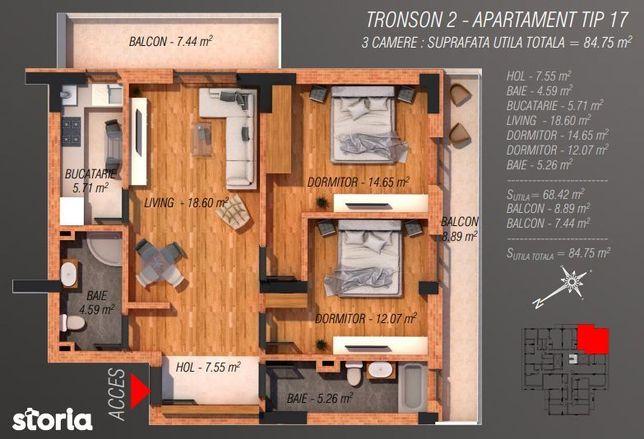 Apartament 3 camere incalzire in pardoseala 85mp Sector 4 Bucuresti