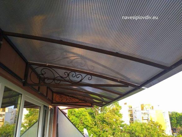 Изработка на навеси и козирки от поликарбонат, ламарина и термопанели
