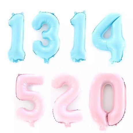 Baloane cifre 0-9 bleu roz 40 cm folie aluminiu