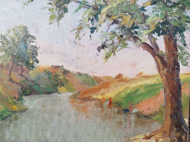 """"""" Toamna pe lacul Pantelimon """", tablou superb, Maria Frânculescu, u/c"""