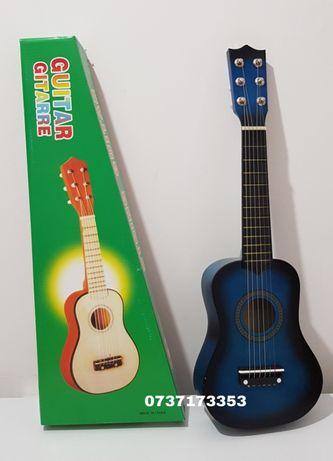 Chitara pentru copii, 6 corzi metalice, 55cm/ diverse culori