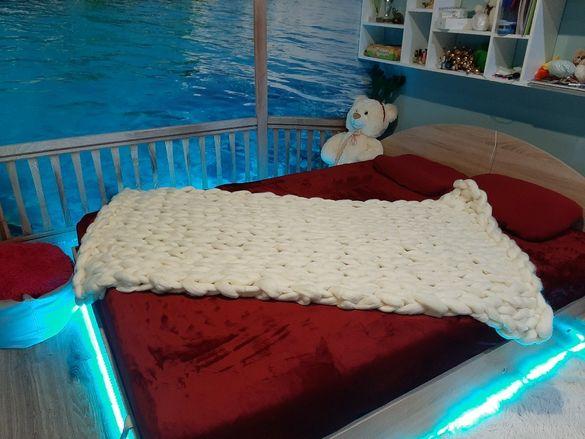 Ръчно плетено одеяло МЕРИНО вълна 100%