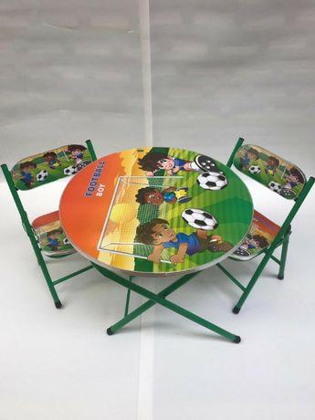 Masa cu doua scaune pliabile pentru copii verde