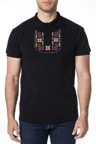 чисто нова тениска с шевица / везба, черна, размер М