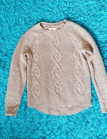 Pluover tricotat crem cu fir metalizat auriu H&M, marime XS-M