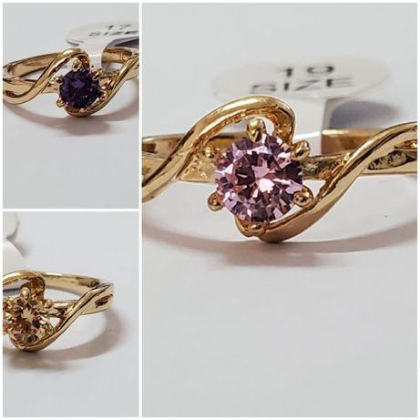 GA3, inel placat aur 14k, model logodna, zirconiu diverse culori, noi