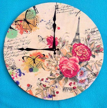 декоративни часовници техника -декупаж