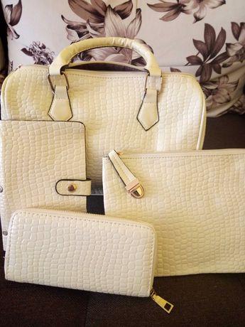 Комплект чанта екрю и чанта през рамо
