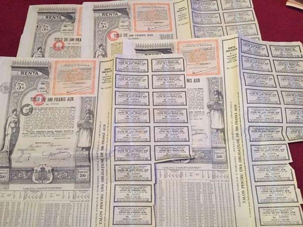 Obligatiune/titlu de stat 500 franci aur Renta romana 1929