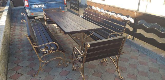Mobilier terasa fier forjat ,lemn banci mese fotoliu balansoar