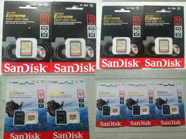 Memori Card SD Extreme si Micro SD 32Gb 4K si SD 64Gb 4K ,Clasa 10!
