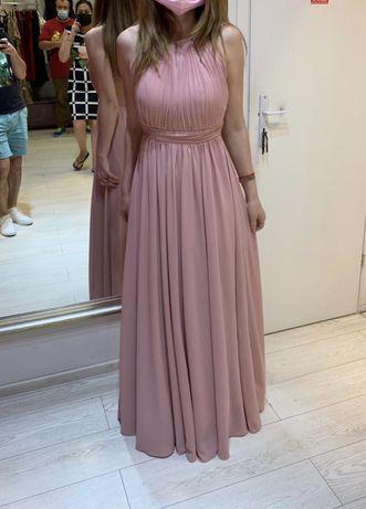 Rochie lunga ocazie cu spatele gol roz S La Femme