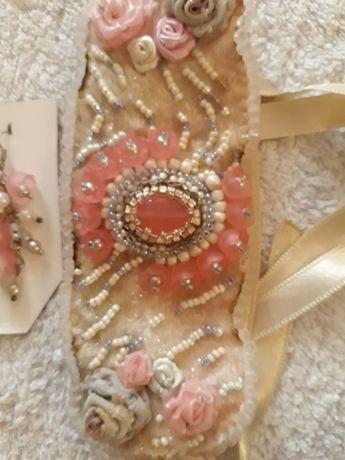 Brățară fashion roz cu crem