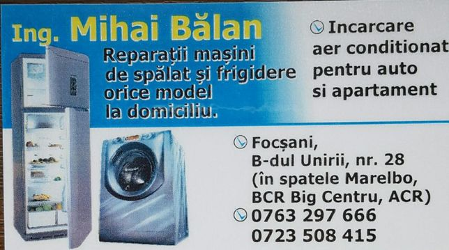 Reparatii masini de spalat camere si vitrine frigorifice - Focsani