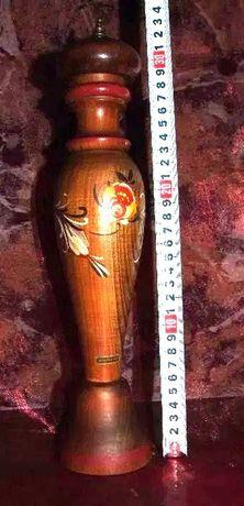 2 Râsnite pentru piper, din sticlã/lemn pictat manual, perfecta stare