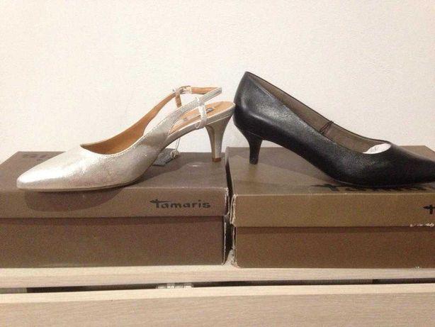 Новые серебристые с открытой пяткой туфли 40-41 разм