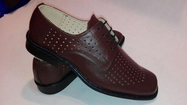 Pantofi perforati din piele maron pt militari
