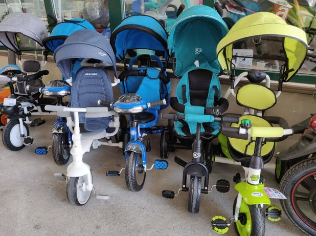 Triciclete copii 2-5 ani, Roti pline Cauciuc, Roti Spuma Eva, diverse