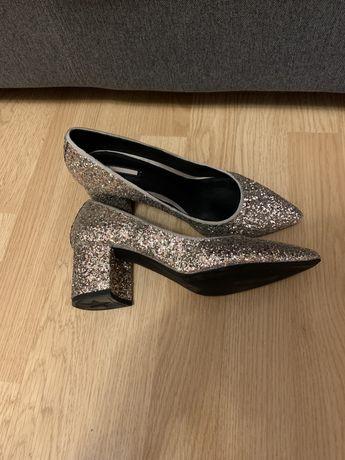 Pantofi Bershka argintii