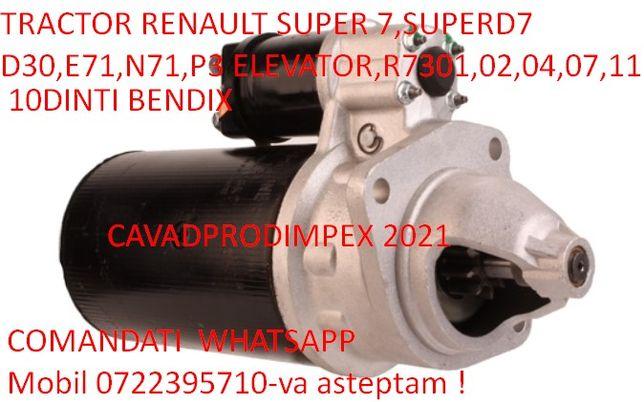 Electromotor NOU tractor renault super 7 cu 10dinti la bendix