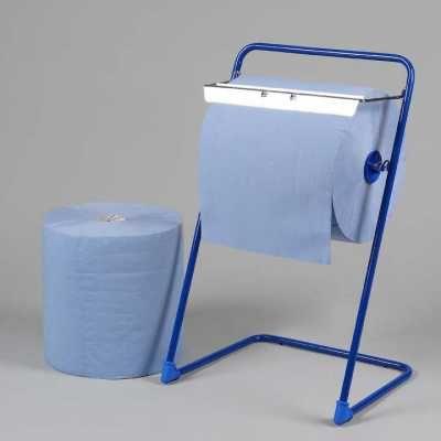 Prosop de hartie albastru 3 strat lat-38cm.Rola hartie albastra+suport