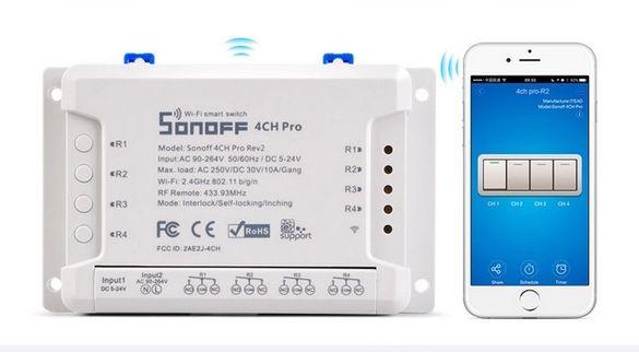 Sonoff 4CH PRO R3- WiFi управляемо реле AC/DC с 4 изхода 10A + RFконтр