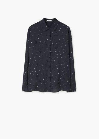 Нова дамска черна риза със звездички на Mango- размер -М-Л