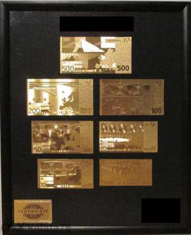 Цялата серия 7-те Eвро Златни банкноти + Сертификат + Позлатен плик
