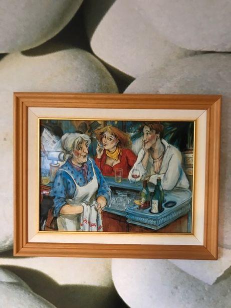 Tablou , pictura pe metal 50x40cm, rama lemn