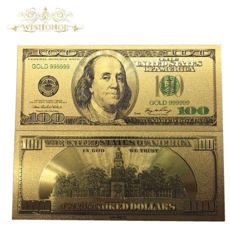 SUA/USA Bancnota 100 DOLLARS - Bancnota placata cu aur - COLOR