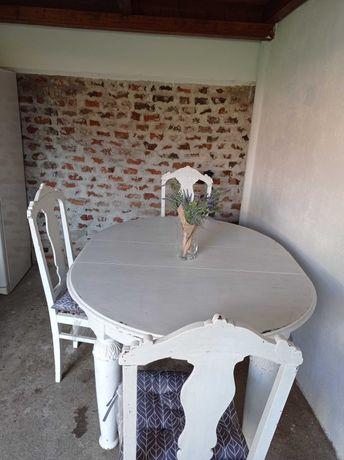 Masa cu 6 scaune, veche, lemn masiv, vintage - negociabil