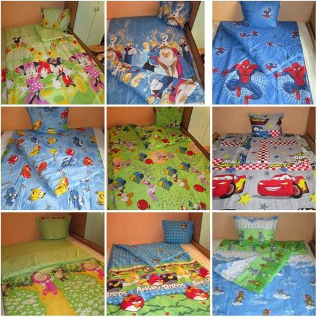 Единично детско спално бельо-завивка/плик,чаршаф и калъфка - 10 вида