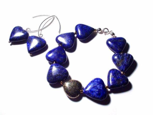 Set romantic pietre semipretioase inima – lapis lazuli pirita argint